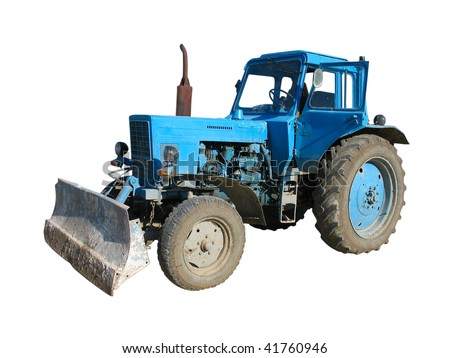 Old blue vintage tractor isolated over white background