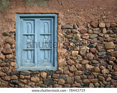old blue window - stock photo