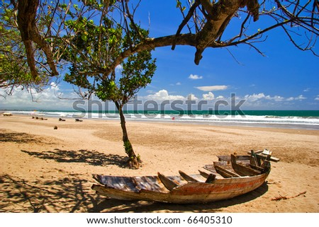 Old boat at the beach. Bali, Indonesia - stock photo