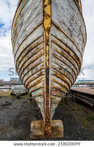old boat hull - iceland, reykjavik 2012 - stock photo