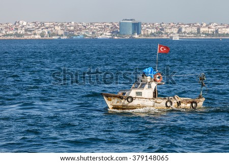 Old boat in the Bosphorus Strait, Istanbul, Turkey