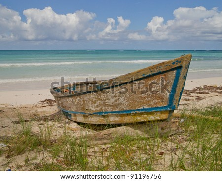 Old boat on Jamaican beach