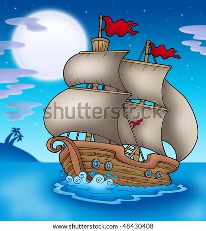 Old boat sailing sea at night - color illustration. - stock photo
