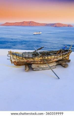 Old boat - Santorini, Greece - stock photo