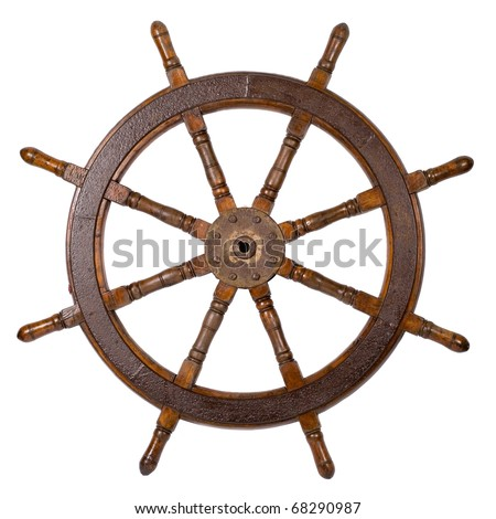 Old boat steering wheel isolated on the white - stock photo