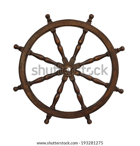 Old boat steering wheel isolated on the white background - stock photo