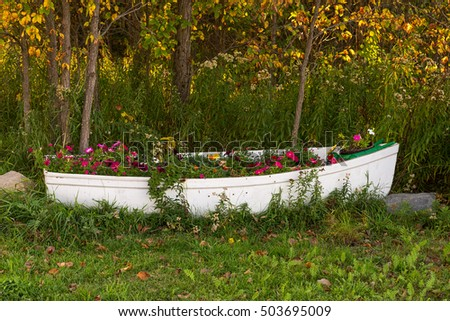 Old boat used as a flowerbed