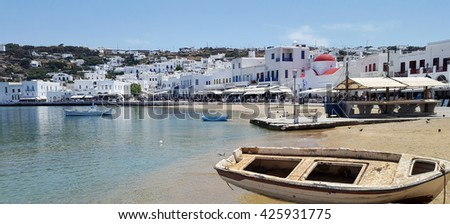 Old boats on the old port in Myconos island, Cyclades, Greece - stock photo