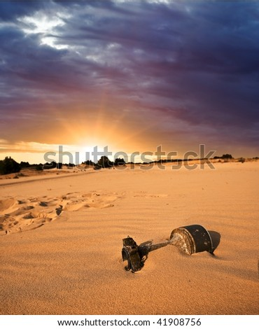 old bomb in a desert - stock photo