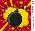 old bomb starting to explode (comic book explosion) old style bomb - stock photo