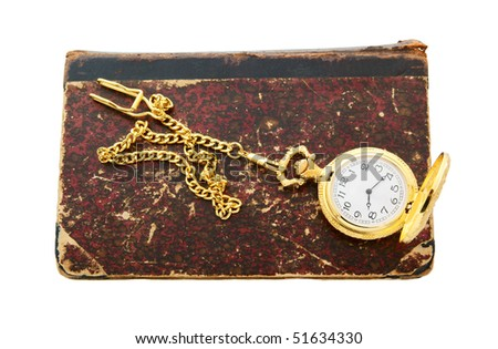 Old book and watch isolated on white background