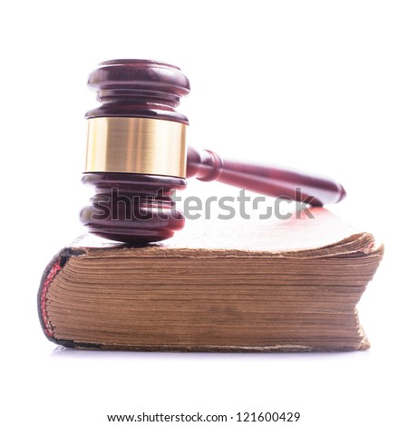 Old book and wooden gavel - jastice concept - stock photo