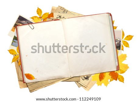 Old book, autumn leaves and photos. Objects isolated over white - stock photo