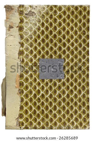old book cover complete with grunge and duct tape isolated on white background. High resolution scan shows all the gritty dirty details. . - stock photo