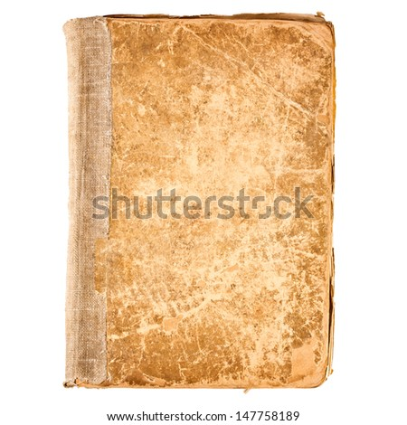 Old book cover, vintage texture, isolated on white background - stock photo