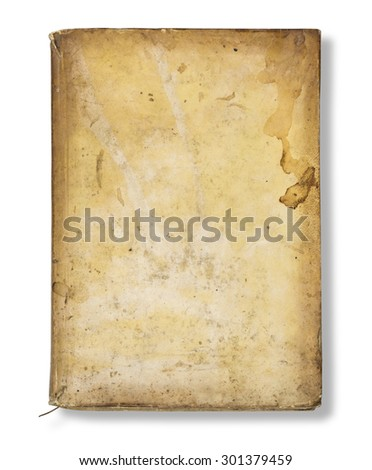 Old book cover, vintage texture, isolated on white background with clipping path