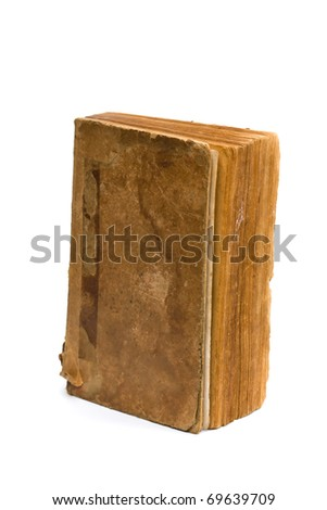 Old book isolated on white background. - stock photo