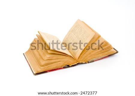Old book isolated over white - stock photo