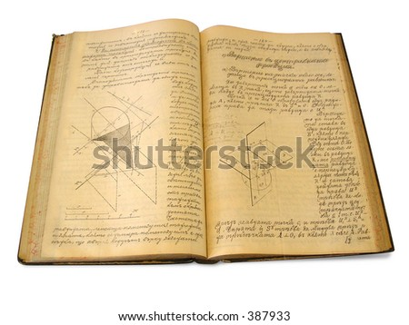 Old Book - Manuscript, Isolated, Path included - stock photo