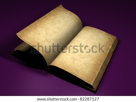 old book on the purple background - 3d rendered - stock photo