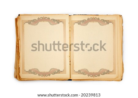old book on the white background with frame. Includes clipping path - stock photo