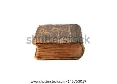 Old book on white background - stock photo