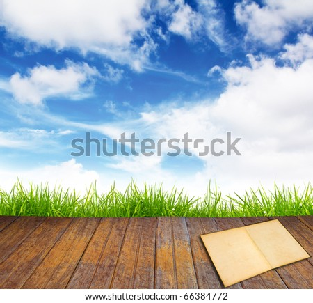 Old book on wood floor with green grass and blue sky. - stock photo