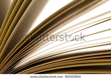old book open, extreme closeup photo - stock photo