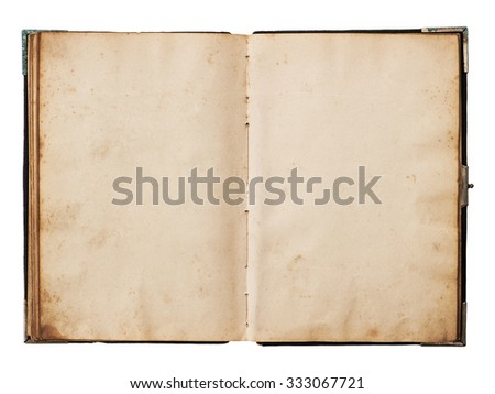 Old book open isolated on white background. Used paper texture - stock photo