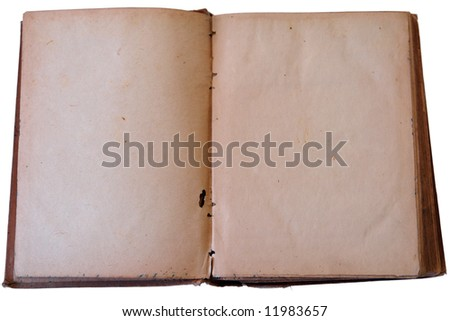 Old book open on both blank shabby pages - stock photo
