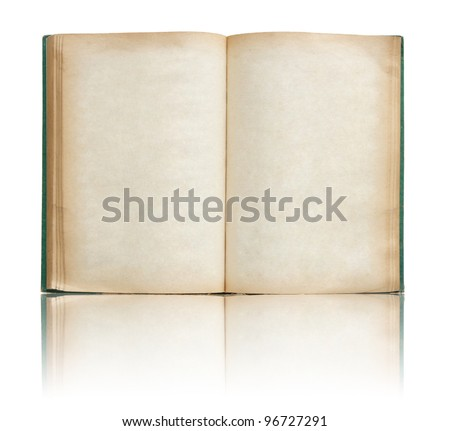 Old book open on reflect floor and white background - stock photo