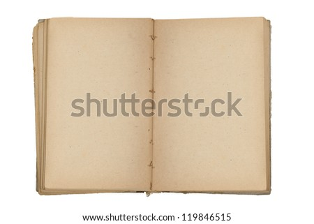 Old book open on white background - stock photo
