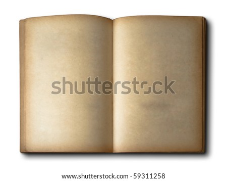 Old book Open two face on white - stock photo
