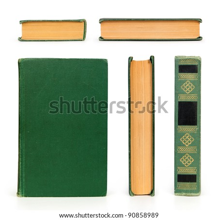 old book set  isolated on white - stock photo