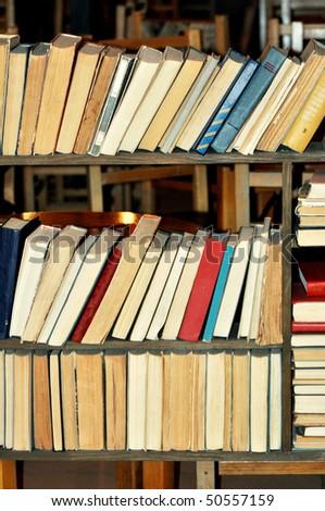 Old book shelf - stock photo