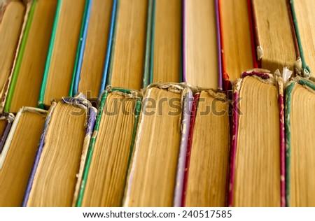 Old book shelf background - stock photo