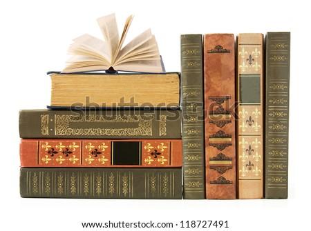 Old book shelf isolated on white background - stock photo