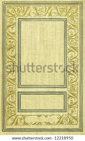 Old  book textile cover with golden  decoration. - stock photo