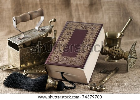 Old Book. Vintage objects - stock photo
