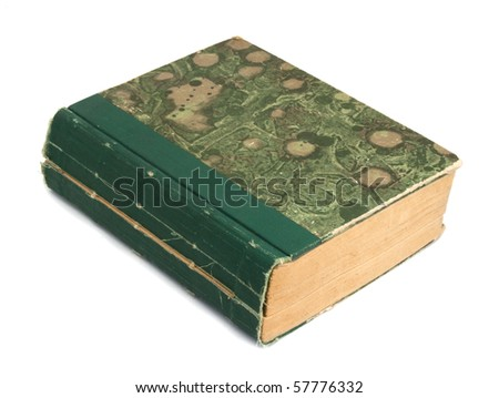 Old book with abstract cover on white background - stock photo