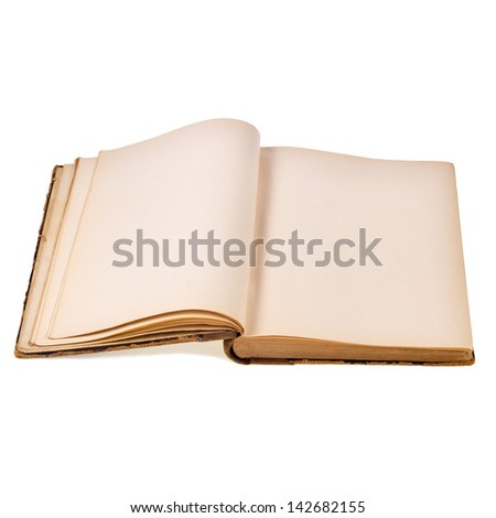 Old book with blank pages. - stock photo