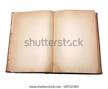 Old book with blank pages isolated on white background