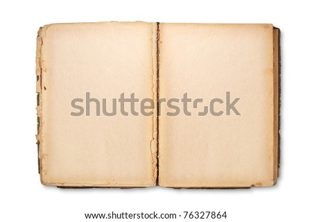old book with blank yellow stained pages - stock photo