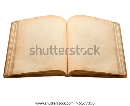 old book with blank yellow stained pages isolated over white background - stock photo