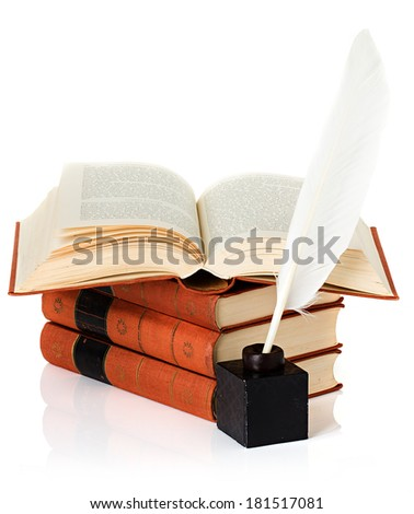 old book with inkwell and quill pen - stock photo