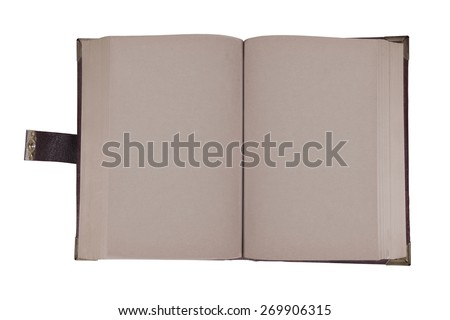 Old book with leather cover on white background - stock photo