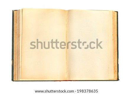 Old Book with Shabby Pages and Cover Isolated on a White Background