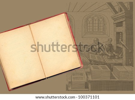 Old book with typography workshop illustration - stock photo