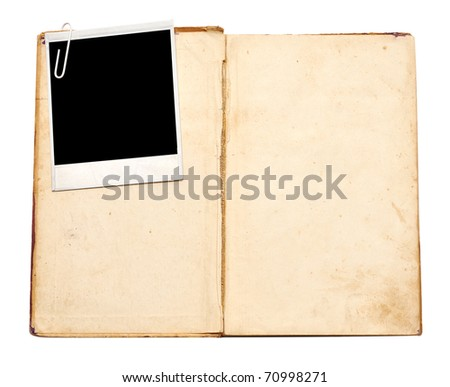 old book with vintage photo on white background - stock photo