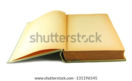 Old book with yellowed blank pages - stock photo